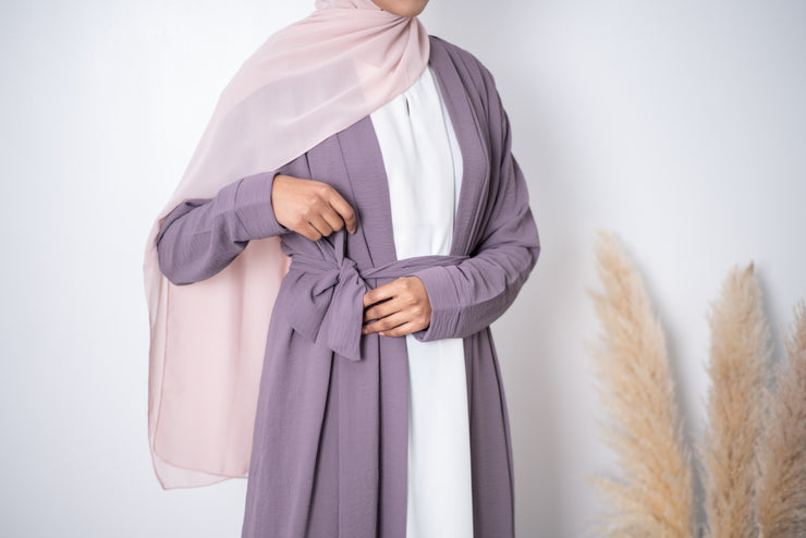 Aaliya Collections Plain Crinkle Abaya - Lilac