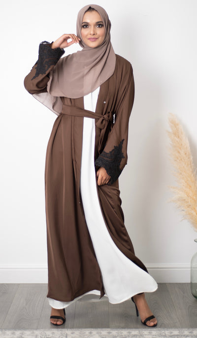 Aaliya Collections Daneen Abaya An elegant abaya for lace lovers, gorgeous brown with contrasting black lace sleeves