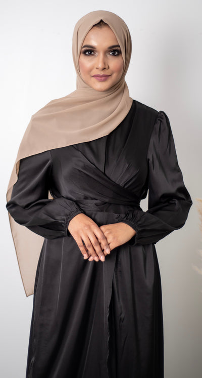 Satin Wrap Dress - Black
