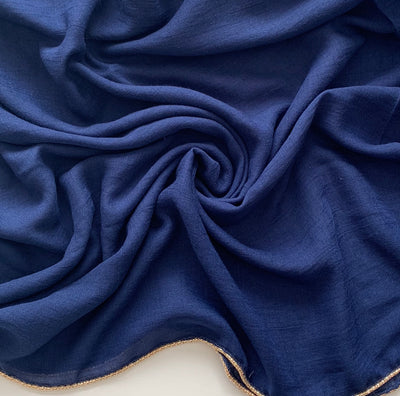 Aaliya Collections Navy Blue with Gold edging Viscose hijab headscarf