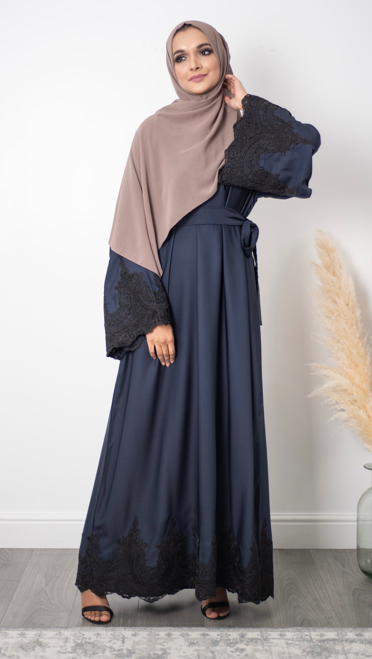 Aaliya Collections Closed Navy Amal Abaya A closed navy abaya with beautiful black lace sleeves and hem