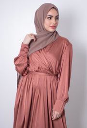 Aaliya Collections Satin Long Dress - Copper Rose