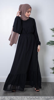 Aaliya Collections Black peplum abaya An elegant peplum abaya dress perfect for all occasions