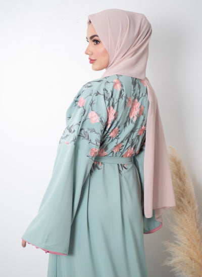 Aaliya Collections blossom abaya A vibrant abaya with stunning floral embroidery