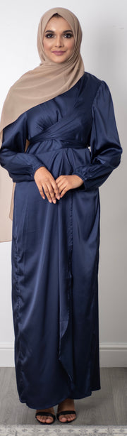 Aaliya Collections Satin Wrap Dress - Navy
