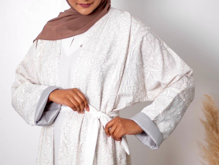 Aaliya Collections White Embroidered Abaya A super elegant lightweight white open abaya