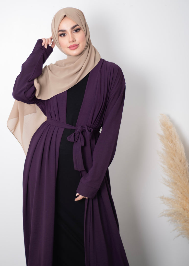 Aaliya Collections Plain Crinkle Abaya - Purple