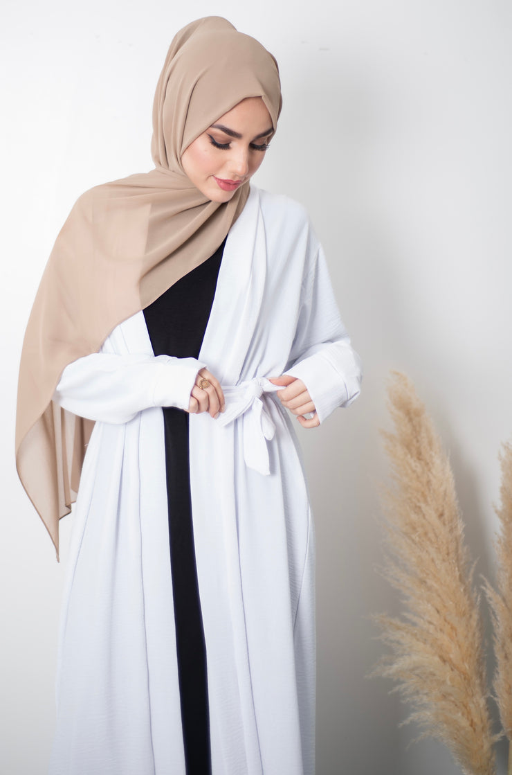 Aaliya Collections Plain Crinkle Abaya - White