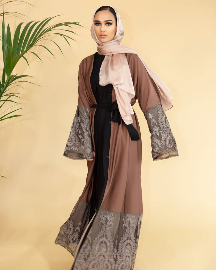 Tawny Lace Abaya - Ready To Dispatch