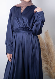 Aaliya Collections Satin Long Dress - Navy