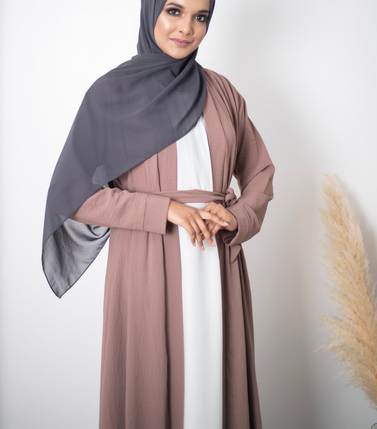 Aaliya Collections Plain Crinkle Abaya - Mocha