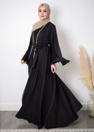 Aaliya Collections Bisht Abaya perfect for occasion wear, with beautiful embroidery bordering and flared sleeves
