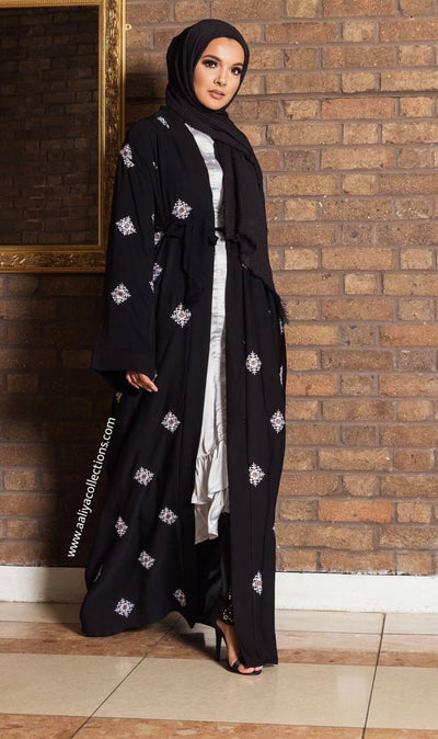Aaliya Collections Almas Abaya Classic Black abaya with pretty white embroidery detailing