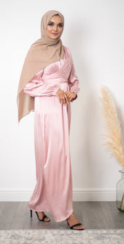 Aaliya Collections Satin Wrap Dress - Pink