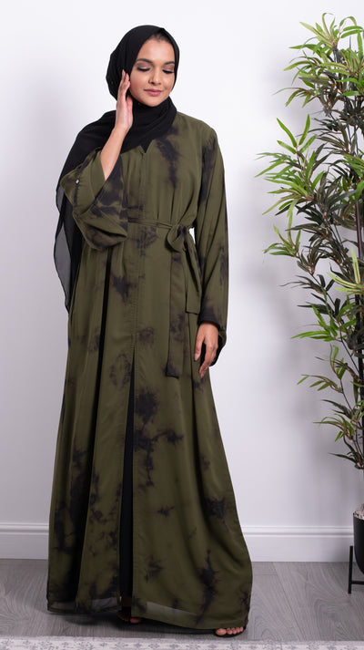 Aaliya Collections Tie Dye Abaya Khaki
