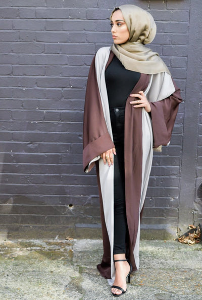 Aaliya Collections Lia Abaya in two tone grey and brown