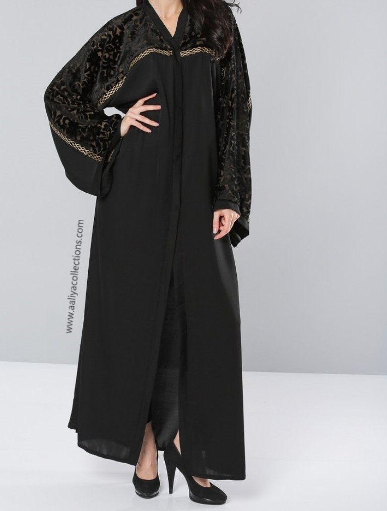 Aaliya Collections Malika Abaya in black with black velvet print and gold piping