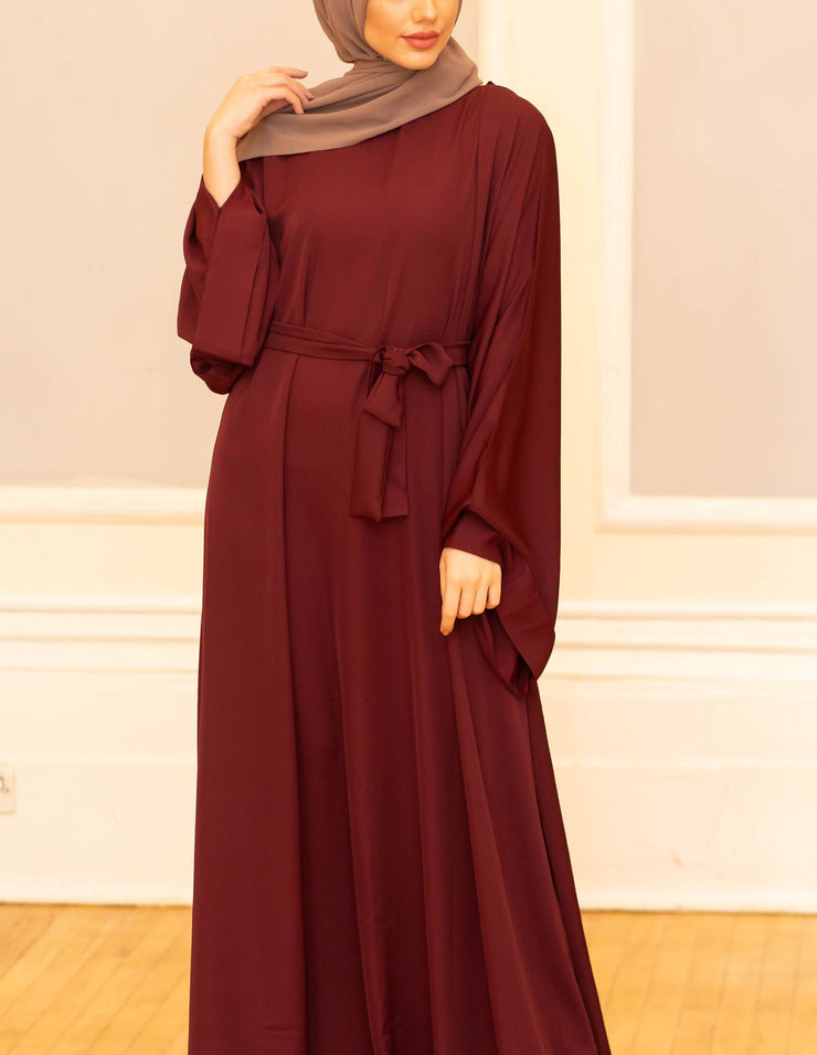 Aaliya Collections maroon closed abaya