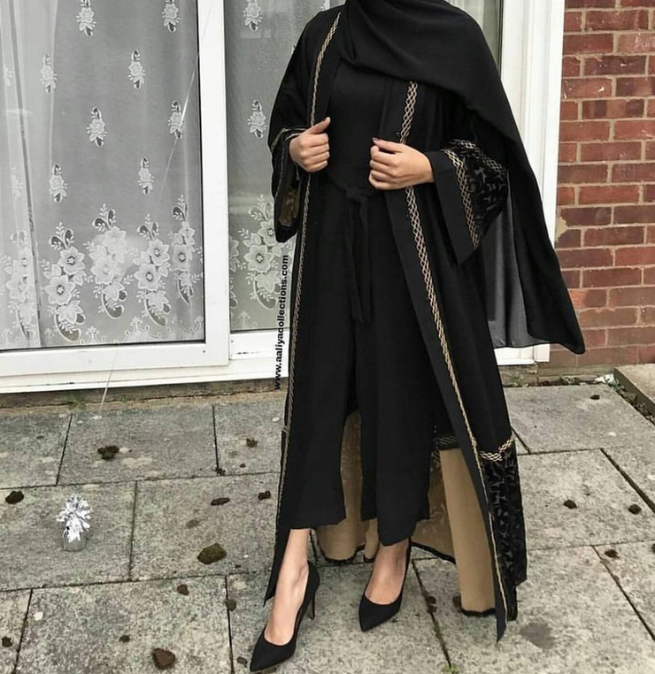 Aaliya Collections Marya Velvet Abaya in black with black velvet print and gold piping