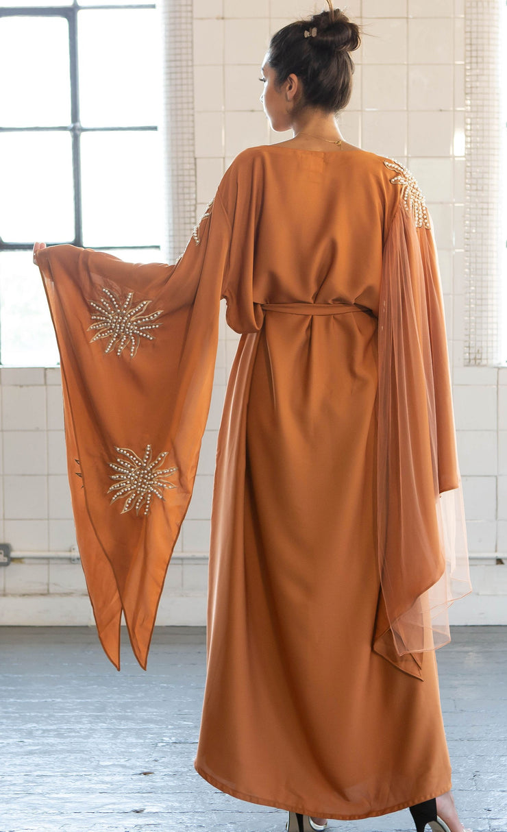 Aaliya Collections Namrah Closed Abaya in bronze/burnt orange with pearl and net detailing