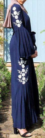 Navy Pleat Abaya - Ready To Dispatch
