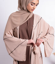 Aaliya Collections Beaded Abaya Nude