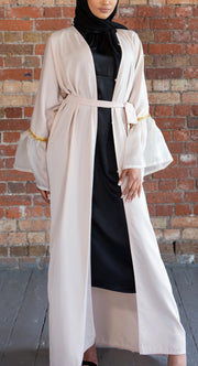 Nude Bell Sleeve Abaya - Ready To Dispatch