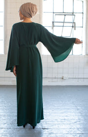 Aaliya Collections Raana Closed Abaya in bottle green with contrasting floral pattern embellishments