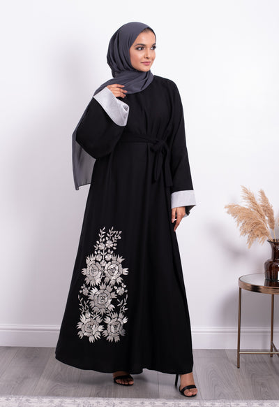 Aaliya Collections Silver Embroidered Abaya