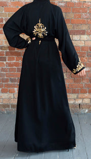 Aaliya Collections Zahab Stone Abaya in black with gold stone work