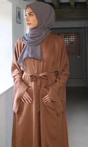 Aaliya Collections Plain Tan Pocket Abaya