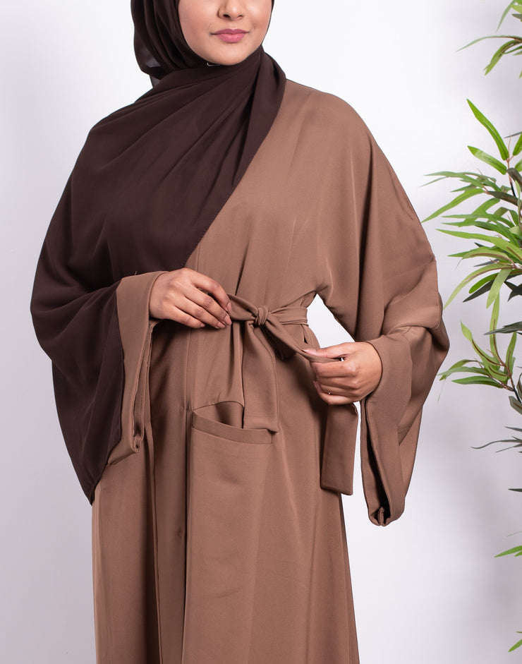 Plain Taupe Pocket Abaya - Ready To Dispatch