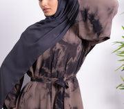 Aaliya Collections Tie Dye Abaya Stone