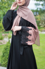 Two Tone Lace Abaya (Tan) - Ready To Dispatch