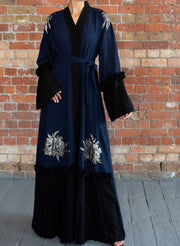 Aaliya Collections Yumna Abaya two tone with stunning silver embellishments