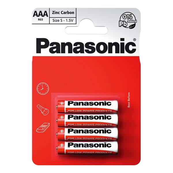 Panasonic AAA 1.5V Zinc Carbon Batteries x 4 - Stamford My Shop is Local