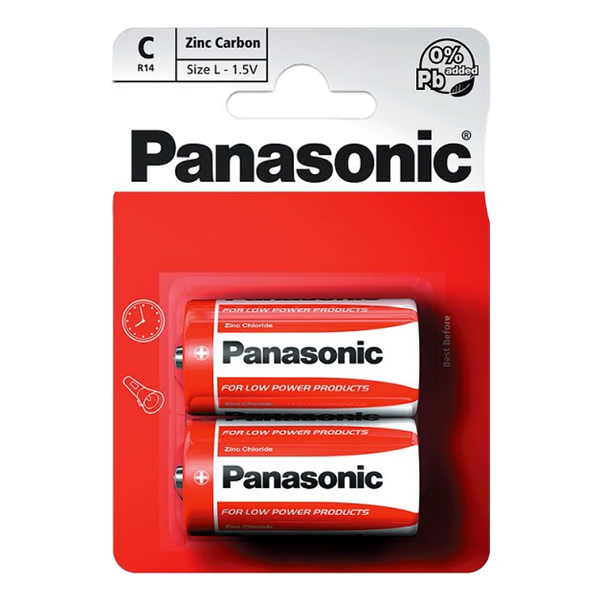 Panasonic C 1.5V Zinc Carbon Batteries x 2 - Stamford My Shop is Local