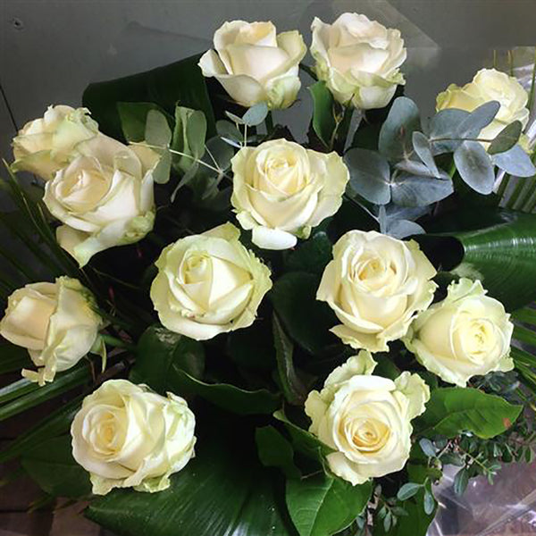 Twelve Heavenly White Roses - Stamford My Shop is Local