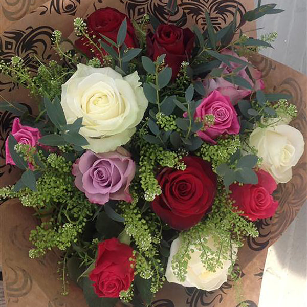 Twelve Mixed Long Stem Roses - Stamford My Shop is Local