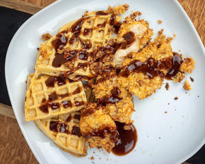 Recipe: BBQ Chicken & Waffles Under 500 calories!