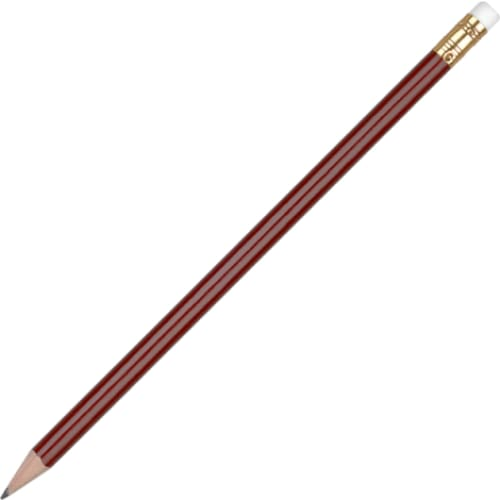 Aurora Pencil with Eraser - Dark Red - Wooden Pencil
