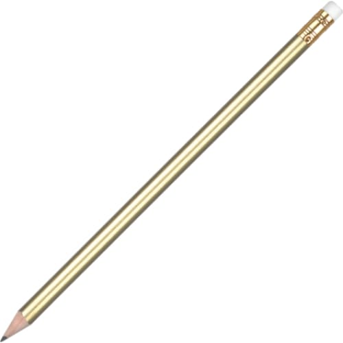 Aurora Pencil with Eraser - Gold - Wooden Pencil