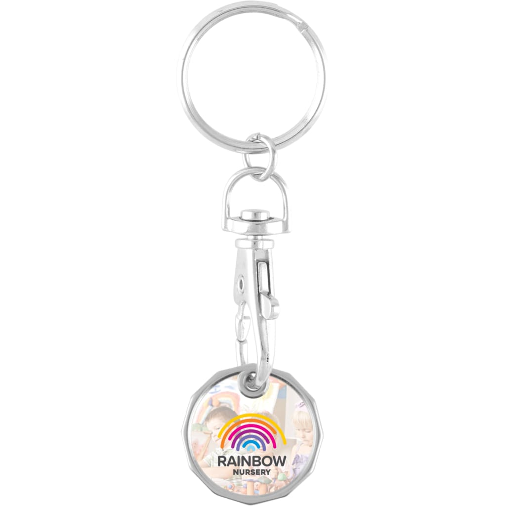 Full Colour Metal Trolley Coin Keyring - Trolley Coin
