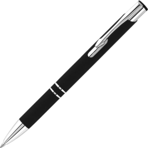 Hi-Shine Matte Soft Feel Ballpen - Black - Push-Button Ballpen