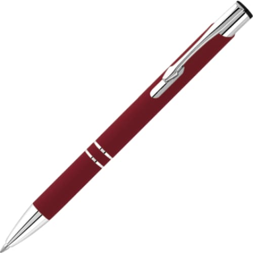 Hi-Shine Matte Soft Feel Ballpen - Burgundy - Push-Button Ballpen