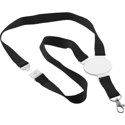 Printed Oval Disc Lanyard - Black - Lanyard
