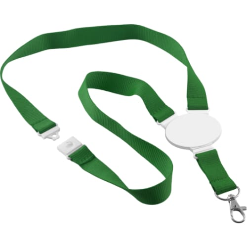 Printed Oval Disc Lanyard - Green - Lanyard