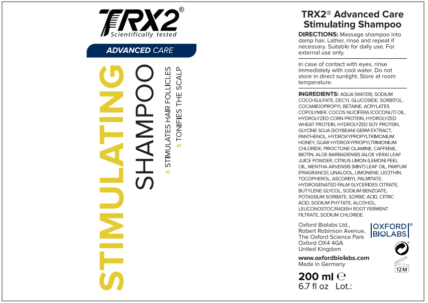 TRX2 Stimulating Shampoo label