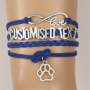 Infinity Love Customised Text Animal Paw Charm Handmade Leather Bracelet