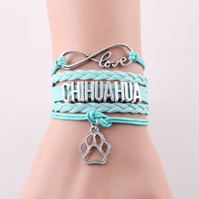 Leather Braided Chihuahua Bracelet Best Friend Dog Paw Charm